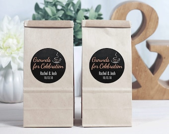 12 Brown Kraft Favor Bags - Coffee Favor Bags - Personalized Favors - Shower Favor - Coffee Favor - Grounds for Celebration - Wedding Favors