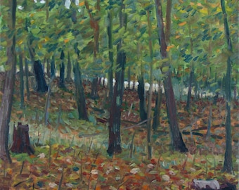 Grove of Trees, Early Autumn - original painting