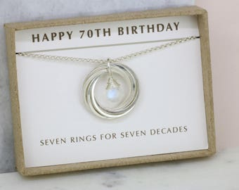 70th birthday gift, June birthstone necklace 70th, moonstone necklace for 70th birthday - Lilia