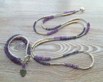 """Fresh Water Pearls, Iolite and Amethyst Necklace 54"""" Long"""