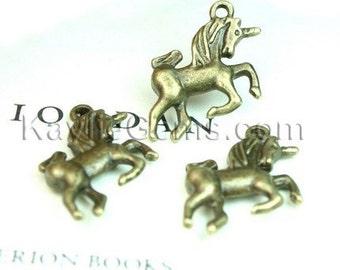 Antique Brass 3-D Cute Unicorn Charms - 6pcs