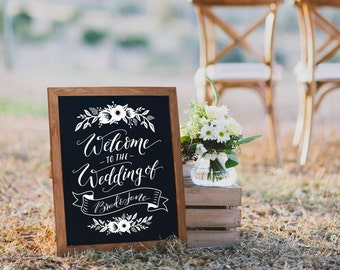 Welcome chalkboard - floral