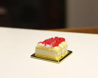 Dollhouse Miniature cake set of 3 on a Golden platter   1:12 Scale Miniature Food, Diorama,