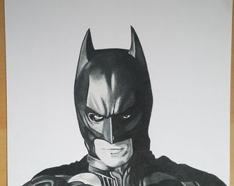 ORIGINAL DRAWING Batman prismacolor pencil drawing superhero marvel DC art A4