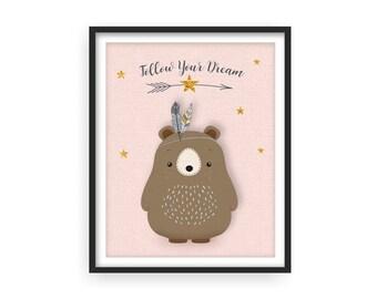 Girl pink nursery wall art, Bear print, Follow your dream, Woodlands nursery, Girl nursery, Forest friends, girl gift, Nursery prints, Baby
