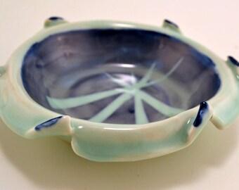 Blue celadon decorative  dish with dark blue under-glaze