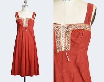 Vintage 70s Boho DRESS / 1970s Brown Corduroy Corset Lace-Up Midi Dress Small