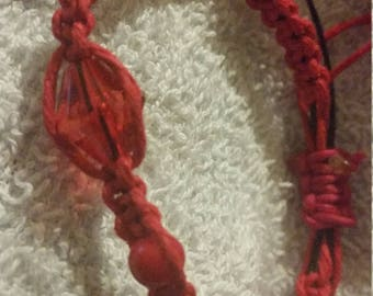 Red Hemp Cord Macrame Bracelet