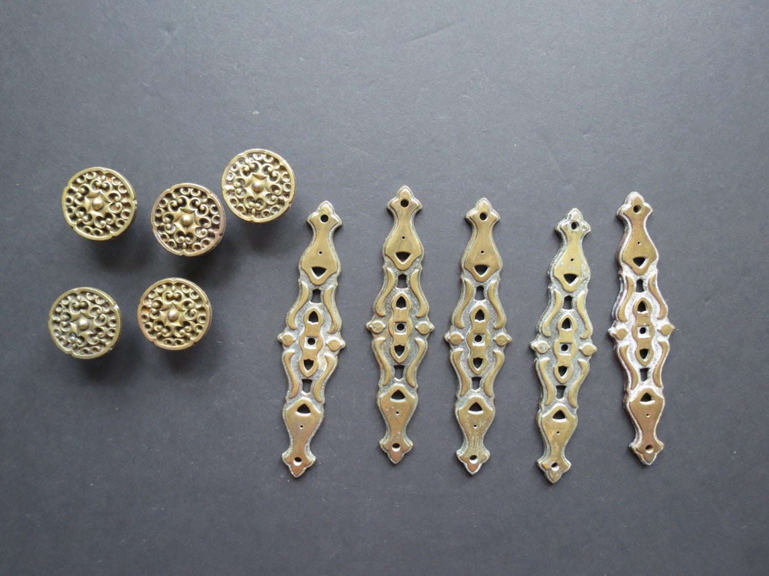 sold backplates drawer brass listing il decorative with thisattic by ornate fullxfull pulls vintage