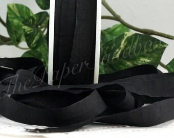 3 yards Black Faux Silk Ribbon, 1/2 inch wide