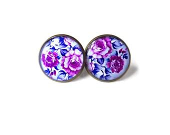 Feminine Lavender and Indigo Floral Stud Earrings - Lolita Pastel Goth Romantic Valentine's Day Pop Culture Jewelry