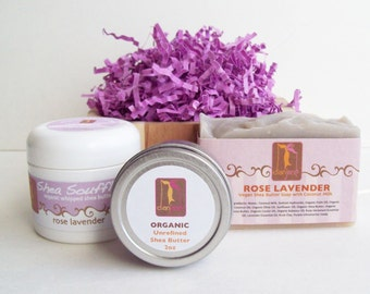 Gift Set Rose and Lavender with Whipped Body Butter and Organic Soap