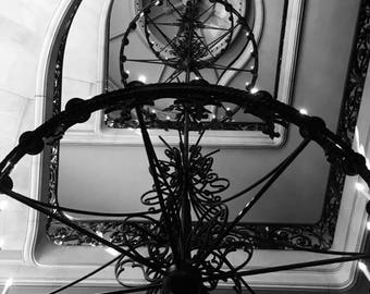 Black and White Chandelier, Photography, Print art