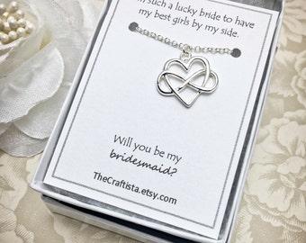 Infinity Heart Bridesmaid Necklace, Infinity Heart Necklace, Bridesmaid Gift, Bridesmaid Necklace, Bridesmaid Jewelry, Infinity Heart Charm