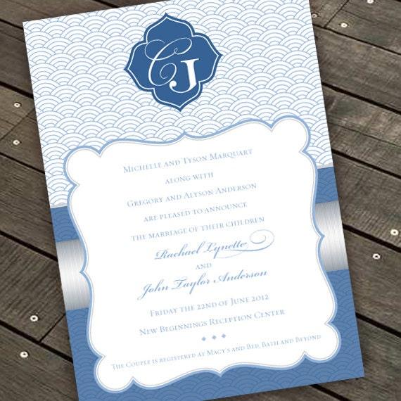wedding invitations, coastal wedding invitations, blue and silver invitations, silver and blue wedding invitations, IN286.1