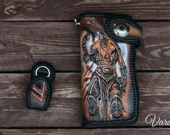 Long Leather Carved Wallet with Odin