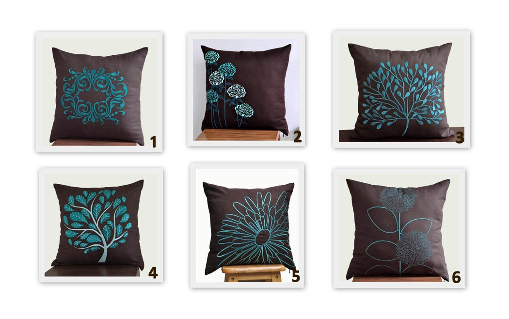 Turquoise Floral Throw Pillow Cover Set Of 2 Mix And Match