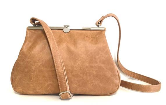 Brown Leather bag , leather handbag , handbag red leather shoulder bag , bag with strap , handbag with snap