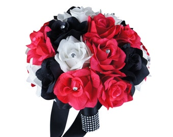 """10"""" Bridal Bouquet - Hot Pink, Black, and White"""