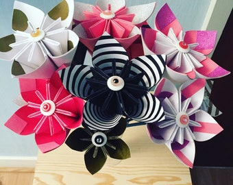 Origami kusudama paper flowers, pink, white, black and gold themed paper flowers, home decor