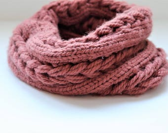 Snood neck scarf, handmade knit braided