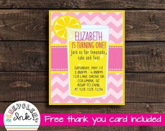Printable Lemonade Theme Birthday Party Invitation - First Birthday Girl - 1st Birthday Girl Invite with FREE Thank You Card