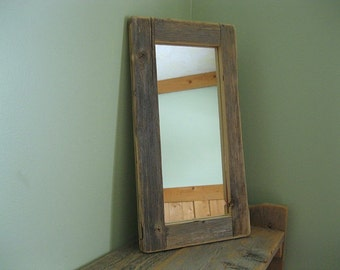 Barnwood MIRROR (4x10) handmade from reclaimed weathered wood - rustic refined
