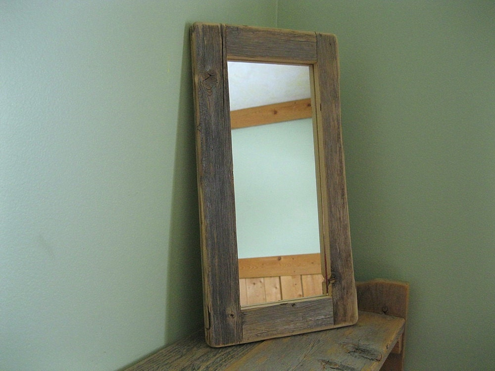Barnwood MIRROR 5x12 handmade from reclaimed weathered wood