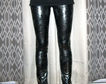 Silver and Black Legging Pants Xsmall Small By Vicmes Clothing