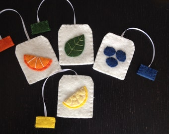 Felt Play Tea Bags, Pretend Play, Tea Party