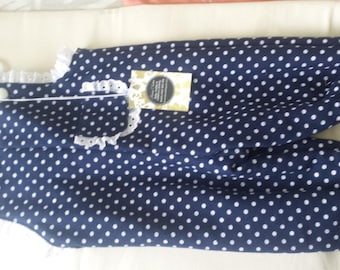Overalls Girls Navy Polka Dot fully lined with poly cotton