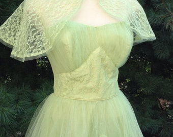 Vintage Gown Lace Netting Pale Green Lime Lawn Prom Dress