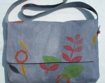 Blue hand dyed messenger bag