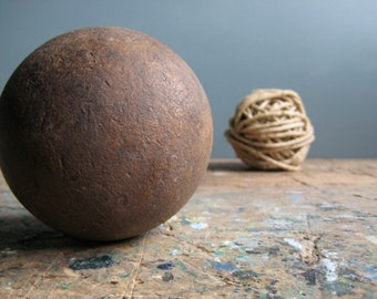 A vintage French wooden ball, heavy wooden ball, quille ball, home decor