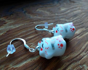 MANEKI NEKO 招き猫 - Ceramic Lucky Cat Earrings