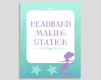 Headband Making Station Sign, Mermaid Shower Table Sign, Aqua and Purple Baby Shower Sign,  INSTANT PRINTABLE