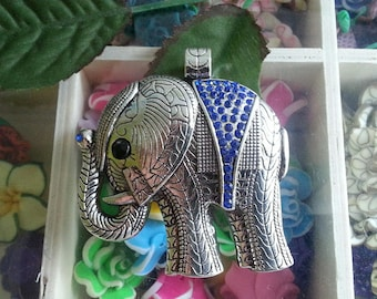 1 large pendant in Antique silver rhinestone elephant alloy big pendants, Sapphire, 55 x 55 x 7 mm, hole: 5 mm