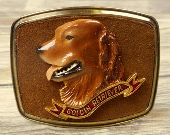 Golden Retriever Belt Buckle Raintree 1979 Brown Suede Dog Breed Breeder Vintage