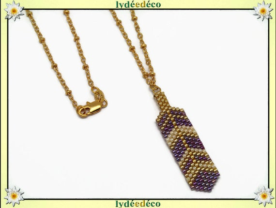 Necklace plated 18 k purple gold beige feather weaving beads ball chain