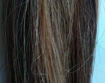 Remy 100% Human Hair Extension Clip in Streak Straight - Bleach Blonde/ DarkBrown