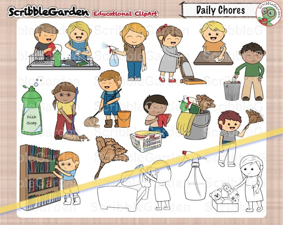 daily chores cleaning clipart rh etsy com chores clipart black and white house chores clipart