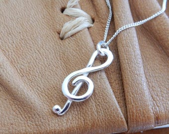 Treble Clef Musical Sterling Silver Necklace
