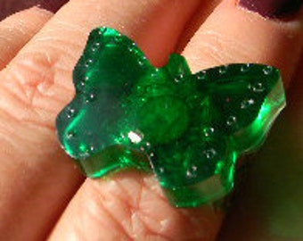 Emerald Green or Clear Glitter Crystal Resin Butterfly Ring- adjustable