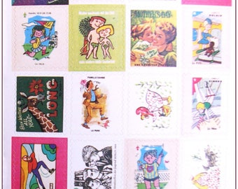 """Stamp sticker stickers for scrapbooking retro vintage """"model 10"""" 1 embroidery sheet of 20 stamps"""