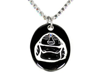 Buddha Sparkle Surly Necklace with Swarovski Crystals in Black and White