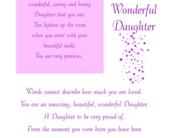 Daughter Birthday Card with removable laminate