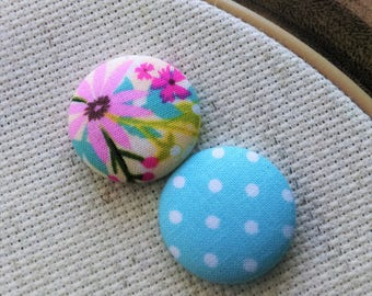 Needle Minder, Flowers, Polka Dots, Pink, Blue, 2 Piece Reversible Needleminder, for Cross Stitch, Sewing, Embroidery,Needlepoint
