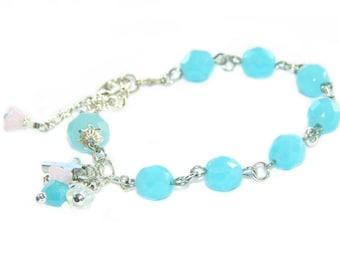 Christian Rosary Bracelet with Faith Charms, Blue Crystal Beads / Anglican Bracelet