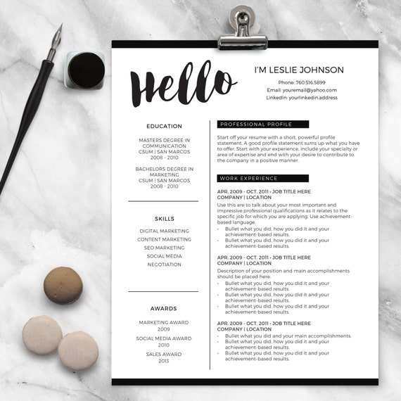 Resume Template for MS Word and Pages HELLO 1 & 2 Page