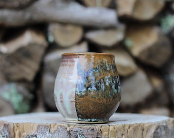 122 Pitch Pine Pottery Art Nouveau Stoneware Wine Cup -  Shimmering Woods - 14 oz